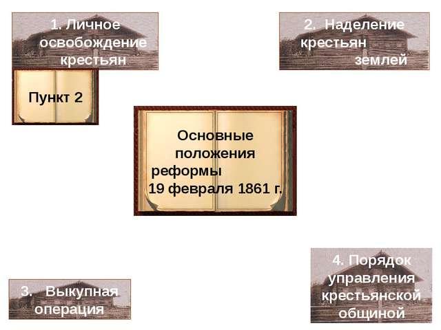 Основные положения реформы 19 февраля 1861 г. Личное освобождение крестьян 2...