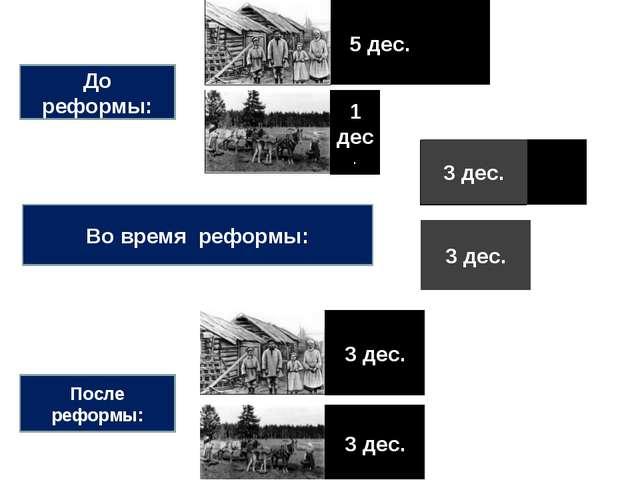5 дес. До реформы: 1 дес. После реформы: 3 дес. 3 дес. Во время реформы: 5 де...