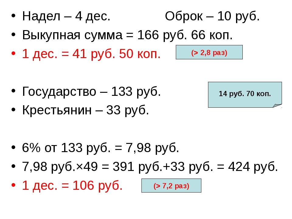 Надел – 4 дес. Оброк – 10 руб. Выкупная сумма = 166 руб. 66 коп. 1 дес. = 41...