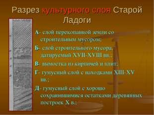 Разрез культурного слоя Старой Ладоги А- слой перекопанной земли со строитель