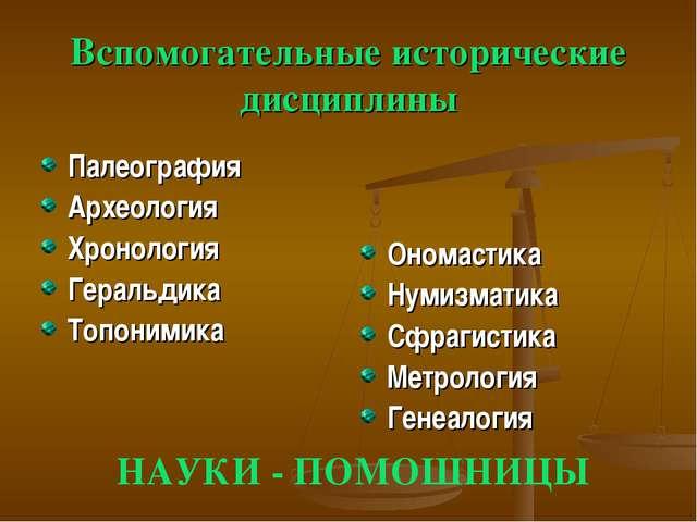 Вспомогательные исторические дисциплины Палеография Археология Хронология Гер...