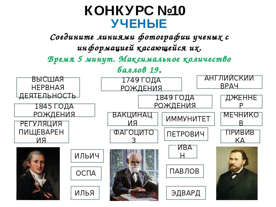 КОНКУРС №10 УЧЕНЫЕ Соедините линиями фотографии ученых с информацией касающей...