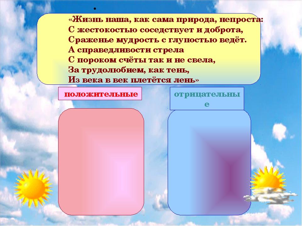 положительные отрицательные «Жизнь наша, как сама природа, непроста: С жесто...