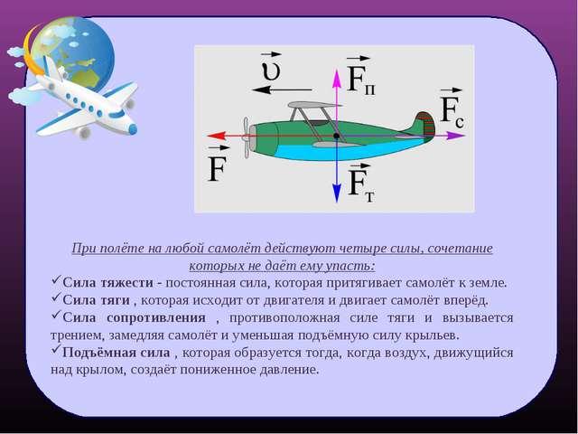При полёте на любой самолёт действуют четыре силы, сочетание которых не даёт...