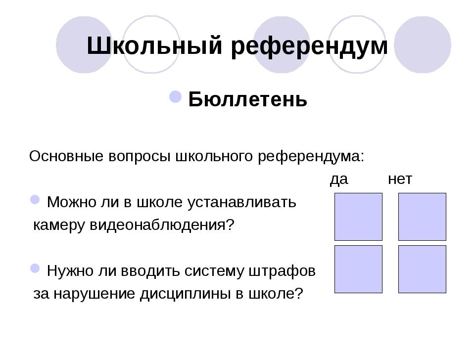 Школьный референдум Бюллетень Основные вопросы школьного референдума: да нет...