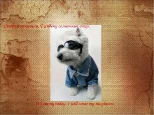 Сегодня солнечно. Я надену солнечные очки. It's sunny today. I will wear my s