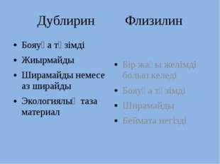 Дублирин Флизилин Бояуға төзімді Жиырмайды Ширамайды немесе аз ширайды Эколог