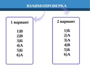 1 вариант В В Б А Б А 2 вариант ВЗАИМОПРОВЕРКА Б А А В Б А