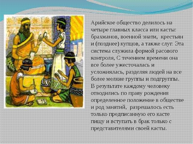 Арийское общество делилось на четыре главных класса или касты: брахманов, вое...