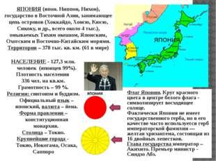 ЯПОНИЯ (япон. Ниппон, Нихон), государство в Восточной Азии, занимающее цепь о