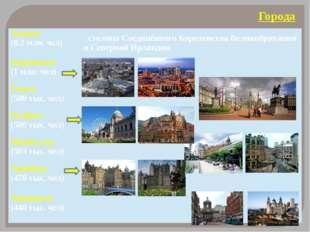 Города Лондон (8,2млн. чел) столицаСоединённого Королевства Великобритании и