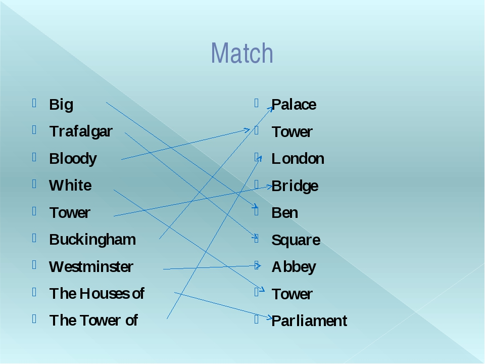 Match Big	 Trafalgar	 Bloody White Tower Buckingham Westminster The Houses of...