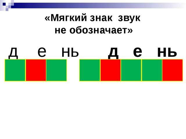 «Мягкий знак звук не обозначает» д е нь д е нь к и