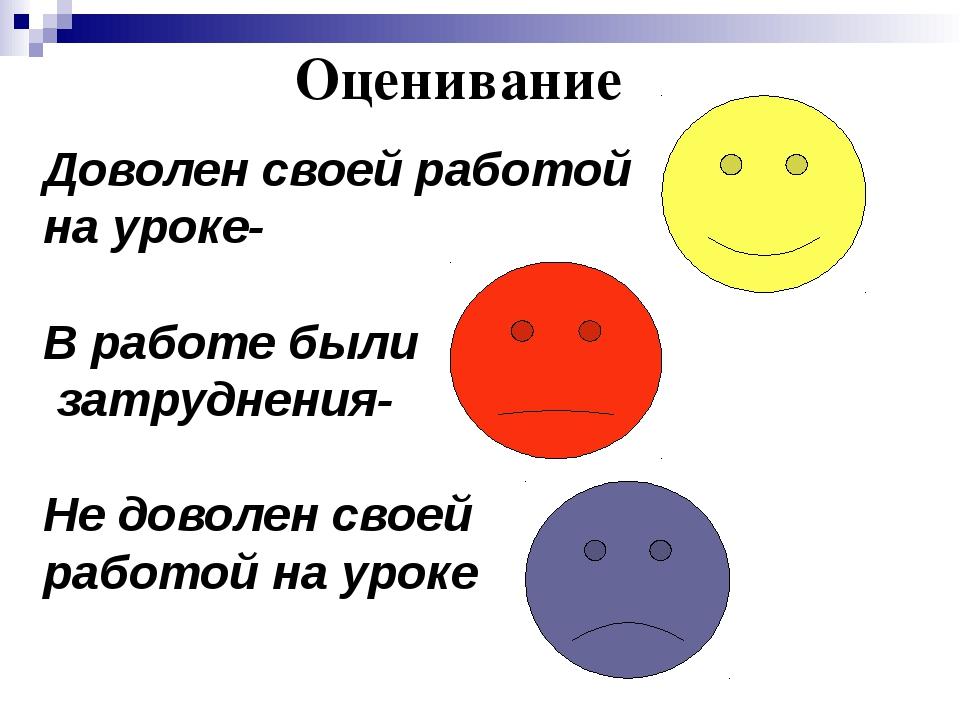 Оценивание Доволен своей работой на уроке- В работе были затруднения- Не дово...
