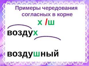Примеры чередования согласных в корне х /ш воздух воздушный