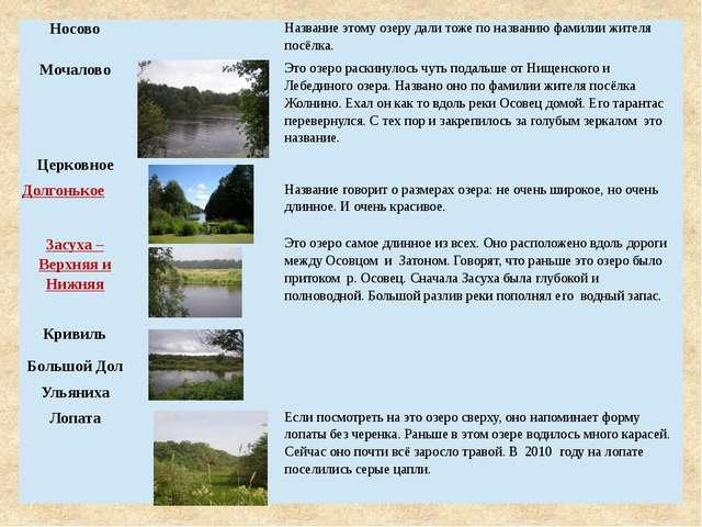 Носово Название этому озеру дали тоже по названию фамилии жителя посёлка. Моч...