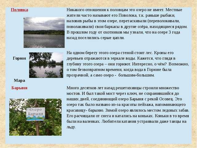 Половка Никакого отношения к половцам это озеро не имеет. Местные жители част...