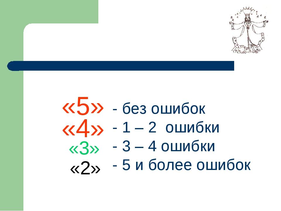 «5» «4» «3» «2» - без ошибок - 1 – 2 ошибки - 3 – 4 ошибки - 5 и более ошибок