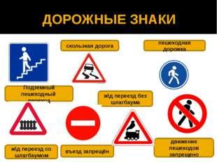 ДОРОЖНЫЕ ЗНАКИ Подземный пешеходный переход ж\д переезд со шлагбаумом скользк
