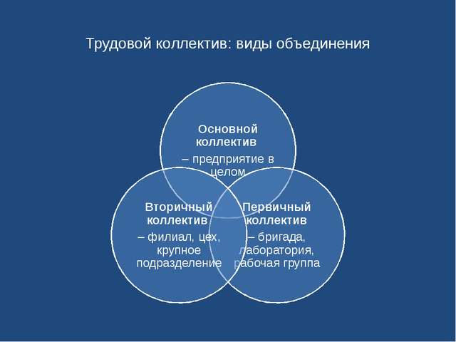 Трудовой коллектив: виды объединения