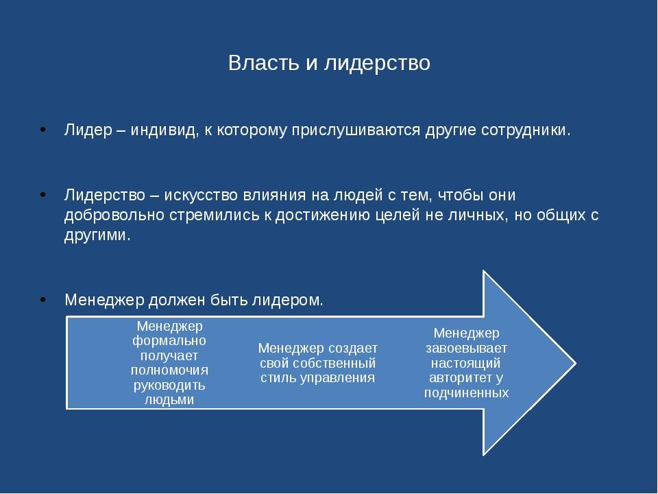 Власть и лидерство Лидер – индивид, к которому прислушиваются другие сотрудни...