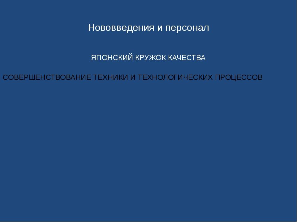 Нововведения и персонал ЯПОНСКИЙ КРУЖОК КАЧЕСТВА
