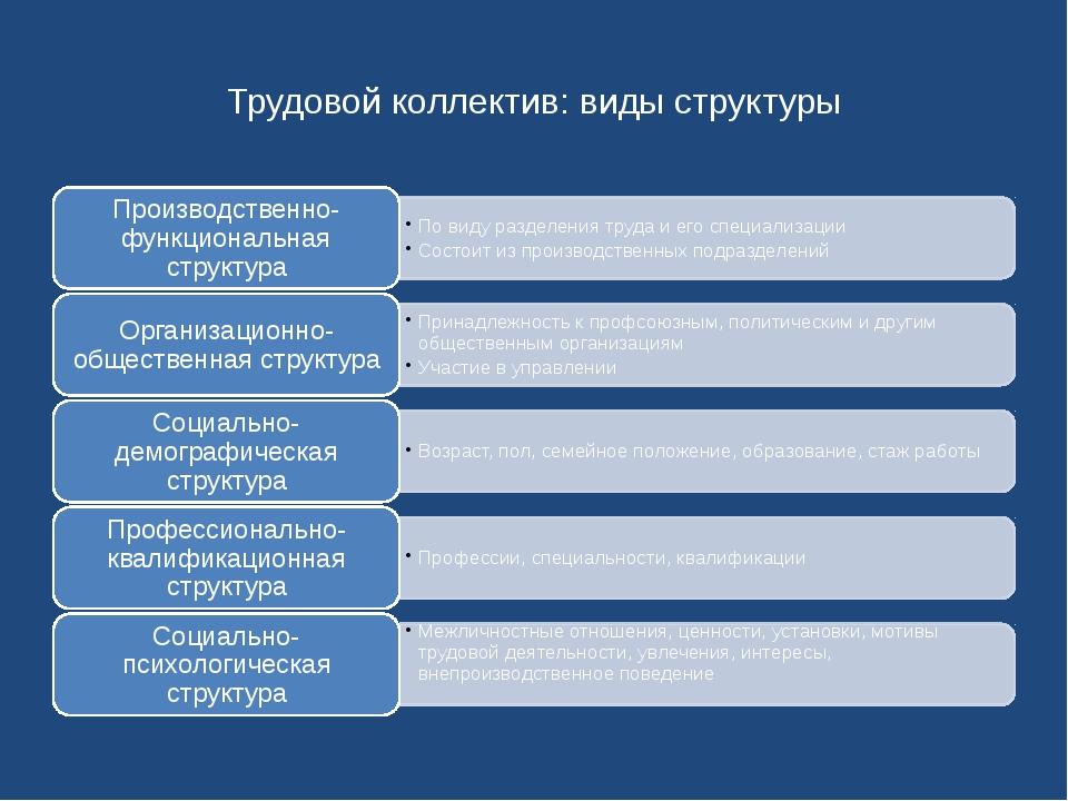 Трудовой коллектив: виды структуры