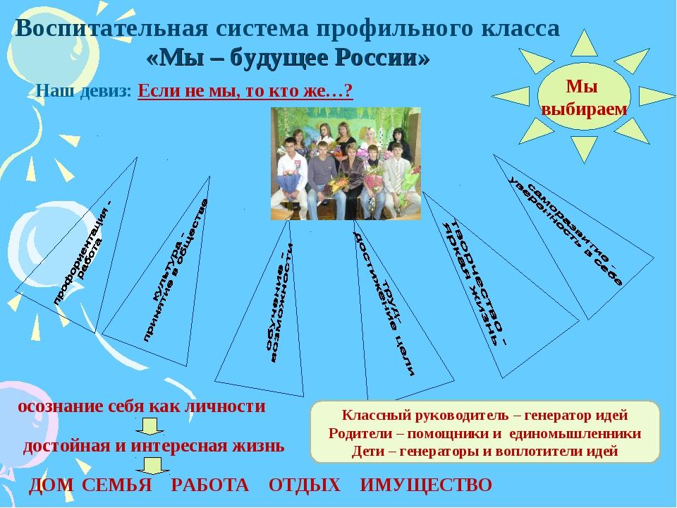 Воспитательная система профильного класса «Мы – будущее России» Наш девиз: Ес...