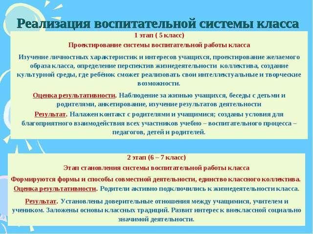 Реализация воспитательной системы класса 1 этап ( 5 класс) Проектирование сис...