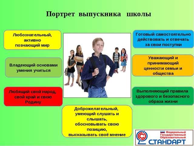 Портрет выпускника школы Любознательный, активно познающий мир Владеющий осно...