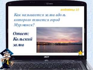 водоёмы 10 Как называется залив вдоль которого тянется город Мурманск? Ответ: