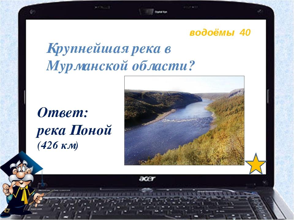 водоёмы 40 Крупнейшая река в Мурманской области? Ответ: река Поной (426 км)