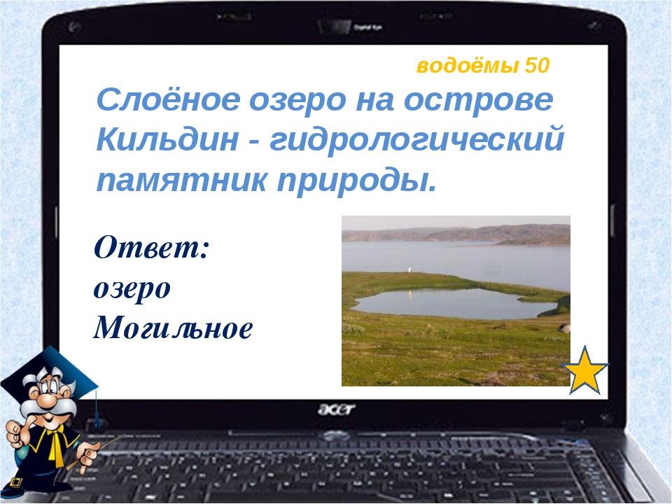 водоёмы 50 Ответ: озеро Могильное Слоёное озеро на острове Кильдин - гидролог...