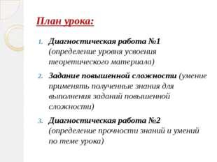 План урока: Диагностическая работа №1 (определение уровня усвоения теоретичес
