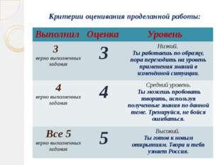 Критерии оценивания проделанной работы: Выполнил Оценка Уровень 3 верно выпол