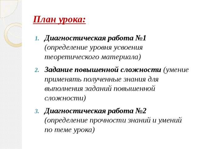 План урока: Диагностическая работа №1 (определение уровня усвоения теоретичес...