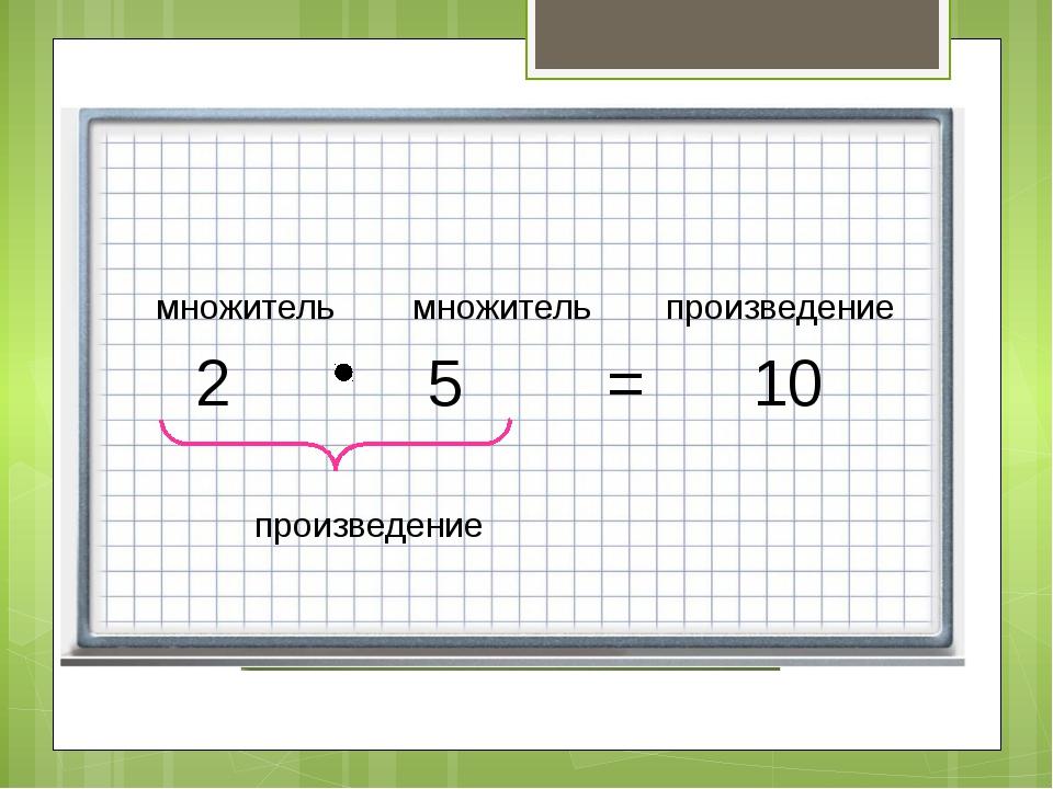 2 5 = 10 множитель множитель произведение произведение