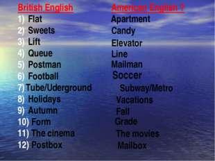 British English Flat Sweets Lift Queue Postman Football Tube/Uderground Holid