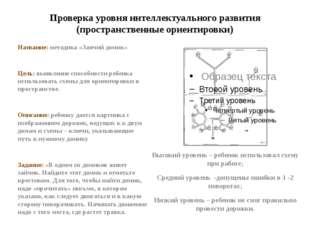 Проверка уровня интеллектуального развития (пространственные ориентировки) На