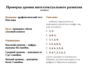 Проверка уровня интеллектуального развития (память) Название: арифметический