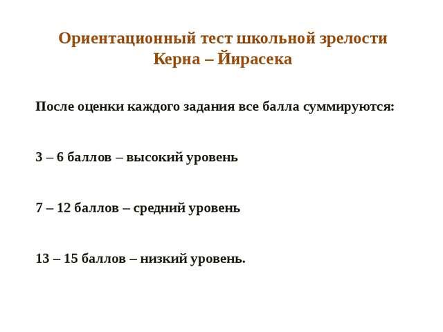 Ориентационный тест школьной зрелости Керна – Йирасека После оценки каждого з...
