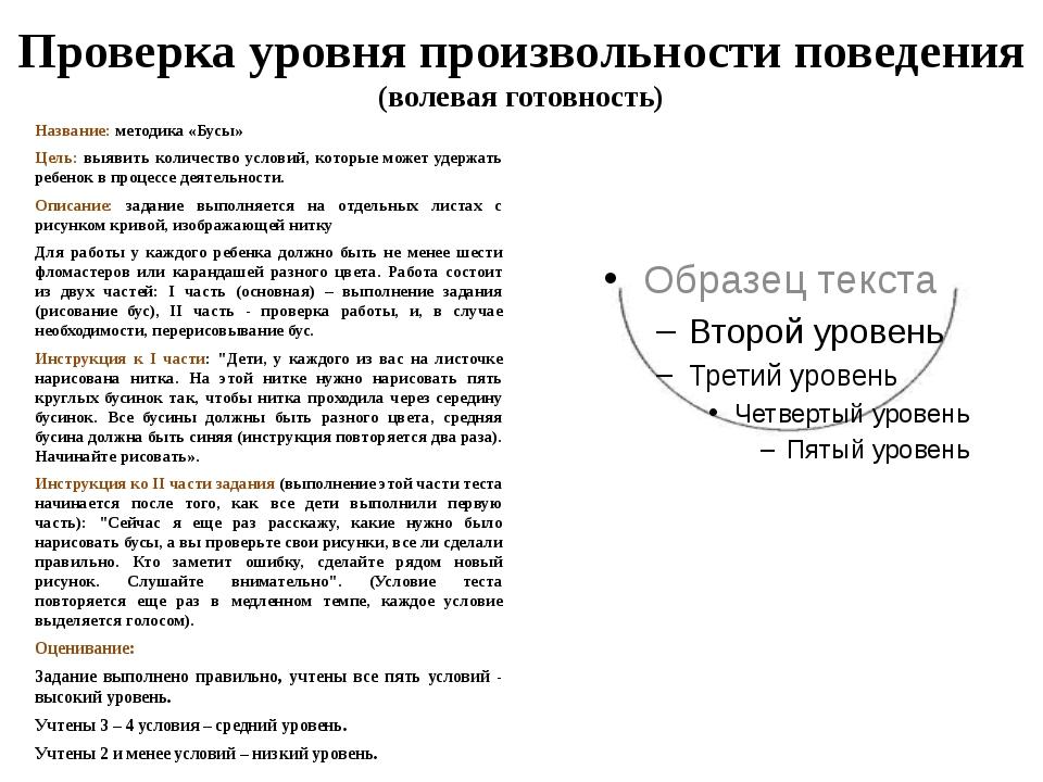 Проверка уровня произвольности поведения (волевая готовность) Название: метод...