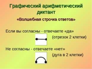 Графический арифметический диктант «Волшебная строчка ответов» Если вы соглас