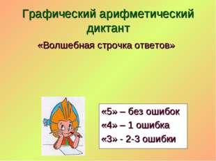 «Волшебная строчка ответов» Графический арифметический диктант «5» – без ошиб