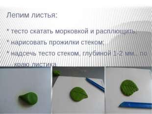 Лепим листья: * тесто скатать морковкой и расплющить; * нарисовать прожилки с