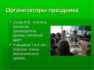 Усова В.В. -учитель биологии, руководитель кружка «Зелёный друг» Учащиеся 7 и