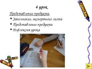 4 урок Представление продукта. Заполнение, экспертного листа Представление пр