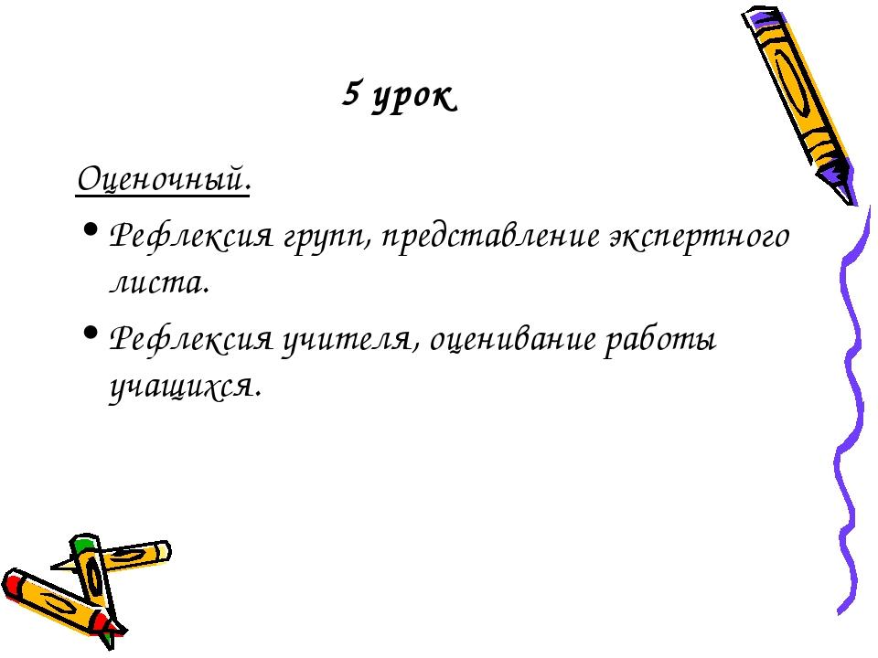 5 урок Оценочный. Рефлексия групп, представление экспертного листа. Рефлексия...