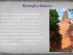 Единственная сохранившаяся из предмостных башен Кремля (не встроенных в стен
