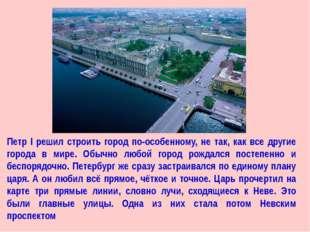 Петр I решил строить город по-особенному, не так, как все другие города в мир